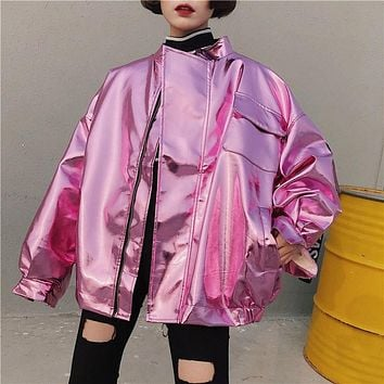 2018 Spring Women Casual Metal Batwing Sleeve Bomber Jacket Pink Silver Hip Hop Punk Loose Coat