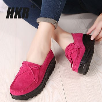 HKR 2016 autumn women casual shoes women suede leather platform shoes tassels breathable wedges shoes ladies boat shoes 830