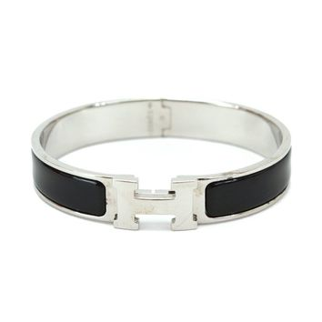 Auth HERMES Clic Clac PM H Bangle Bracelet Black Silver accessories 90052249