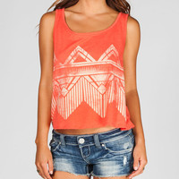 Full Tilt Faded Ethnic Print Womens Open Back Tank Coral  In Sizes