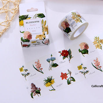 Retro Flowers Season Japanese Washi Tape, Masking Tape, Decorative Tape, Adhesive, Planner Stickers - WT005