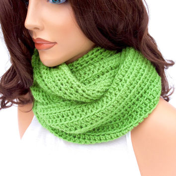 Green Crochet Cowl | Scoodie | Hooded Scarf | Bright Infinity Scarf for Women | Warm Winter Cowl