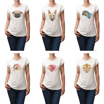 Women Animals in geometric pattern style Printed T-shirt WTS_02