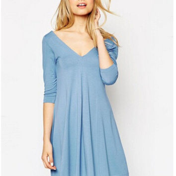 V-neck Cotton One Piece Dress [6338880001]