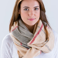Tinge Of Plaid Infinity Scarf
