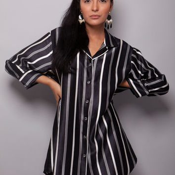 Black&White - 100% Natural Silk Satin Unique Women Long Sleeve Tunic/Blouse