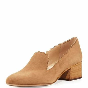 Chloe Scalloped Suede 40mm Loafer, Yellow