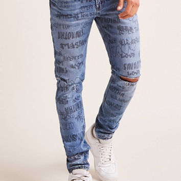 Faded Graphic Jeans