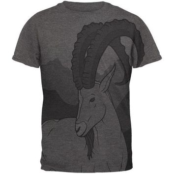 DCCKJY1 Ibex Goat Wild Mountains All Over Dark Heather Soft Adult T-Shirt