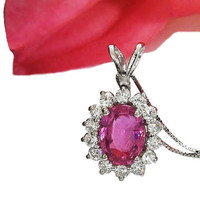 Sapphire Necklace cluster Pendant Pink Sapphire Certified Not-Heated 14K White gold