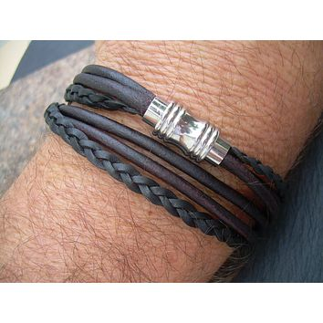 Magnetic Leather Bracelet,Stainless Steel, Magnetic Clasp, Double Wrap, Mens Bracelet, Womens Bracelet, Mens Jewelry, Womens Jewelry