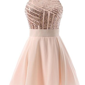 DYS Women's Short Halter Prom Party Dress Backless Homecoming Dress for Juniors