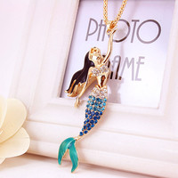 Enamel Crystal Mermaid Rhinestone Fashion Bohemian Long Chain Necklaces Pendants For Women Gold Plated X600
