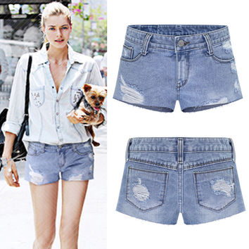 Plus Size Women's Fashion Summer Stylish Fashion Rinsed Denim Denim Pants Shorts [6328871617]