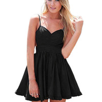Black Mini Summer Dress with Cami Strap