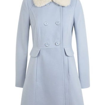 Faux Fur Collar Button Coat