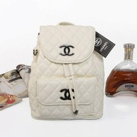 Chenire CHANEL Women Fashion College Leather Satchel  Bookbag Backpack
