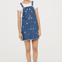 Bib Overall Dress - Denim blue/flowers - Ladies | H&M US