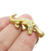 3D Crocodile Alligator Shaped Pendant Necklace in Gold | DOTOLY