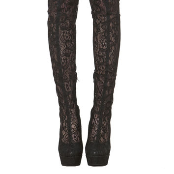 Lust For Life Pico Lace Shaft Platform Over The Knee Boots - Black Lace