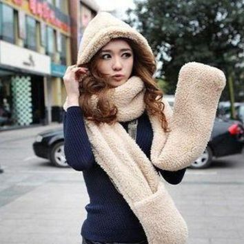winter thick cashmere scarves hats gloves one double couple warm hooded scarves SCARVES-175
