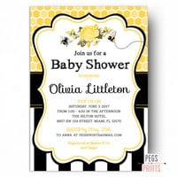 Bee Baby Shower Invitation - PRINTABLE Bumble Bee Baby Shower Invites - Gender Neutral Baby Shower Invitations - Yellow Spring Baby Shower