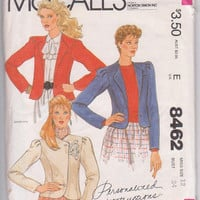 80s vintage pattern for short, fitted, button front jacket with long, tucked sleeves misses size 12 McCalls 8462 UNCUT