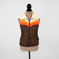 80s Puffy Vest Small Sleeveless Jacket Ski Vest Zip Up Retro Brown Orange White Sunrise Stripe Vest Vintage Clothing Womens Clothing