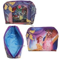 Licensed cool Disney Beauty And The Beast Stained Glass Rose Cosmetic Make-Up Tote Bag Purse