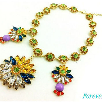 Flower necklace, crystal  handmade bib Necklace/glitter Statement  choker,bridesmaid gifts,Wedding Party unique Beaded J Crew Jewelry