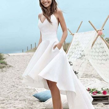 Charming Spaghetti Straps V Neck Long High Low Wedding Dresses,White Short Homecoming Dress OK408