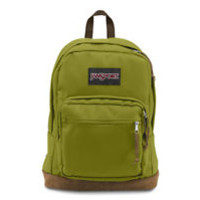 JanSport Right Pack TYP704X Unisex Forest Moss Lifestyle Leather Bottom Backpack