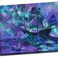 Abstract Ship Mirror Wrapped Canvas