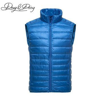 DAVYDAISY High Quality Waistcoat Men Early Winter Ultralight Stand Collar Duck Down Padded Warm Vest Men Sleeveless Coat DCT-178