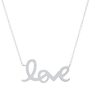 "Sterling Silver Cursive ""LOVE ""Necklace"