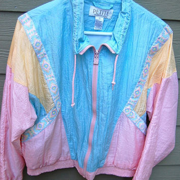 Vintage 80s Pastel Tribal Southwest Lined Nylon Windbreaker Wind Suit Jog Parachute Jacket Size Medium