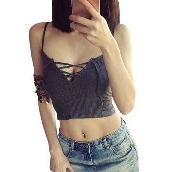 Crop Tops Women Short Bralette Low Cut Tanks Top Bandage