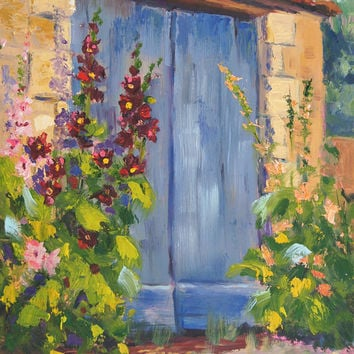 Original, Oil palette knife painting, Hollyhock Village part 2 - Impressionist Landscape, Provence Village, by Marion Hedger, 7x12inch