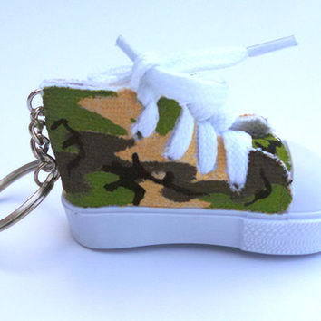 Hand Painted Small Shoe Custom Keychain Camo Accessory Sneaker Charm Painted Keyring Gifts Under 10 Gifts Under 15 Camouflage