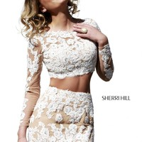 Sherri Hill 21371 - Ivory Lace Long Sleeve Homecoming Dresses Online