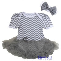 Silver & White Chevron Romper Pettiskirt Tutu & Bow Headband Set