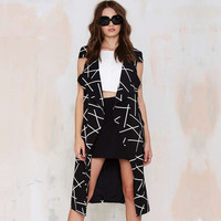 Black Printed Lapel Coat