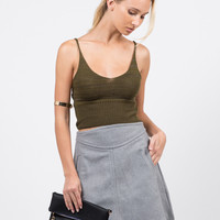 Knit Cropped Cami - Olive