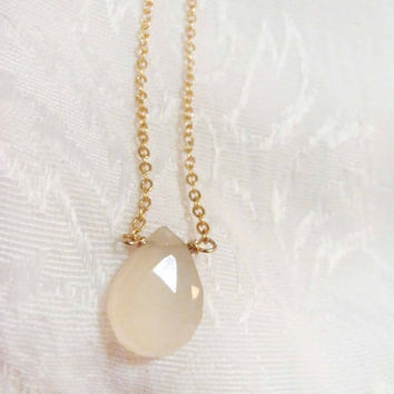 White Chalcedony Faceted Briolette necklace - Sterling Silver or Gold Filled Chain with semi-precious gemstone - dainty, natural gem