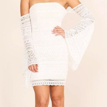 White Floral Lace Bandeau Backless Off Shoulder Flare Sleeve Club Homecoming Party Mini Dress