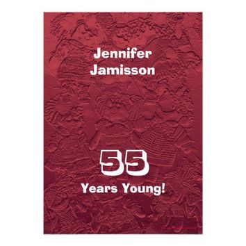 55th Birthday Party Red Dolls Custom Invitations