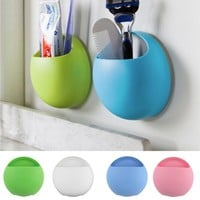 Toothbrush Holder Bathroom Kitchen Family Toothbrush Suction Cups Holder Wall Stand Hook Cups Organizer  -39