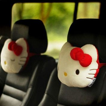 Hello Kitty Car Neck Headrest Cartoon Cute Pink KT Auto Safety Neck Support For Girls Car Decoration Gift