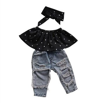 Newborn Baby Girls Clothes Dots Wrapped Chest + Hole Denim Pants 2Pcs Outfits Clothes