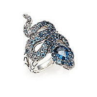 John Hardy - Legends Cobra London Blue Topaz, White Sapphire, Diamond & Sterling Silver Ring - Saks Fifth Avenue Mobile